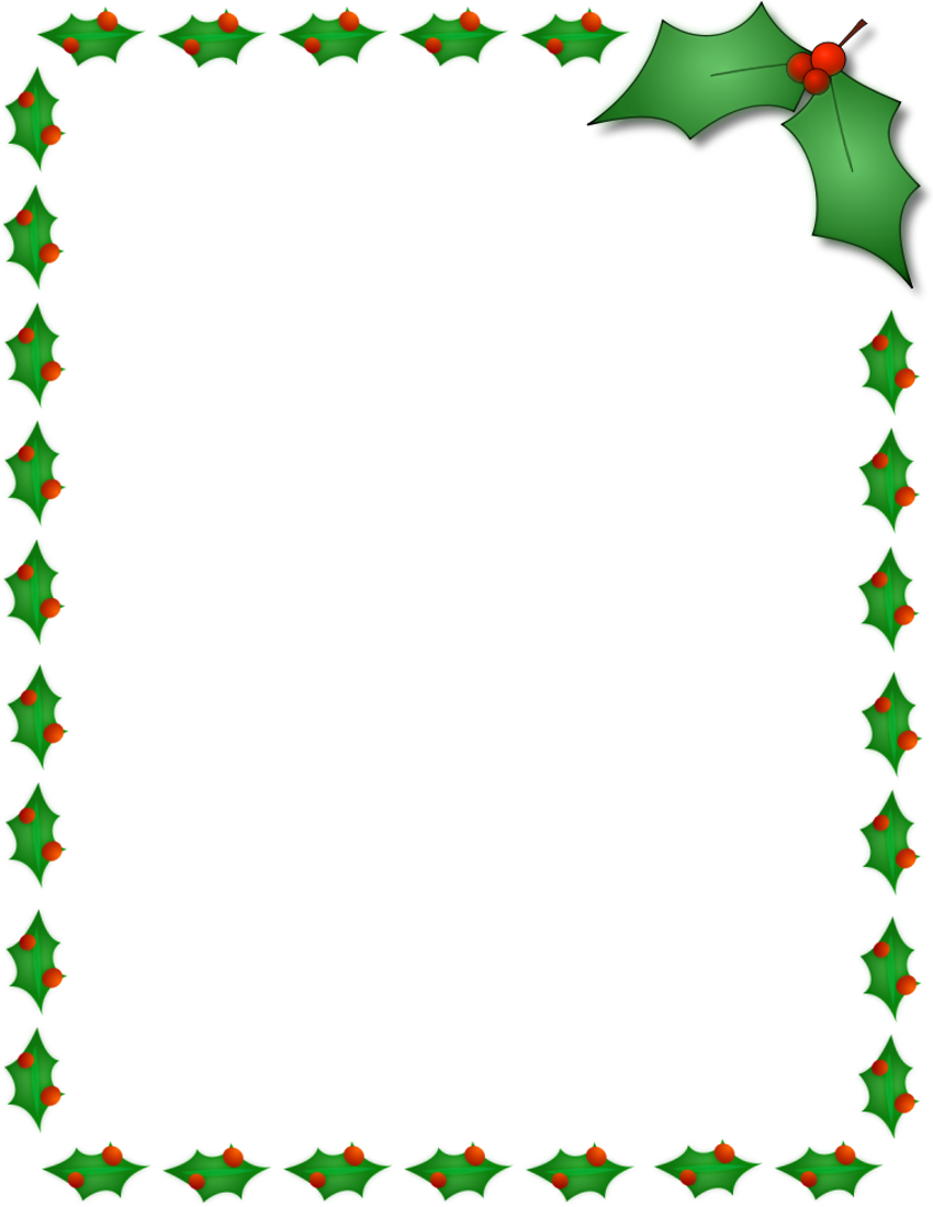 Christmas Clipart Borders Holly Border Page