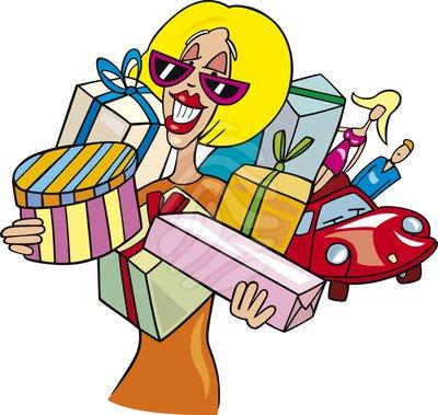 Clip Art Woman On Shopping