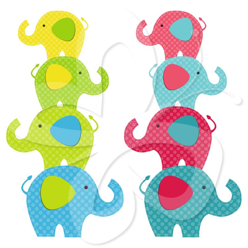 Cute Elephant Clipart - Bright   Clipart Panda - Free