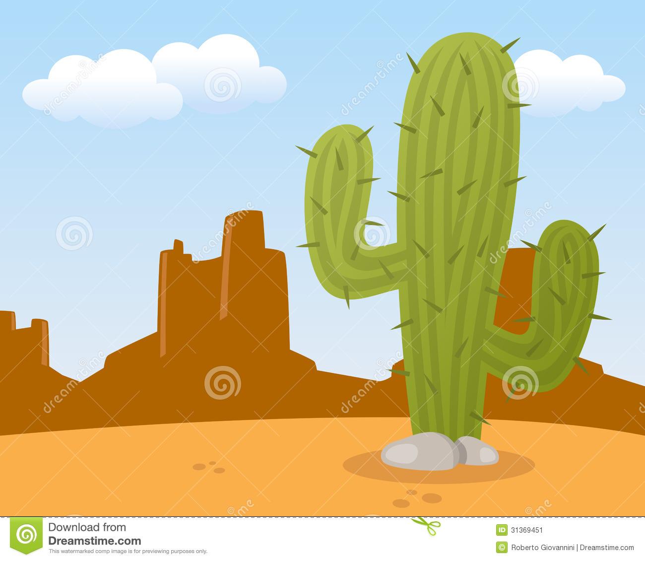 Cactus desert. Landscape with clipart panda