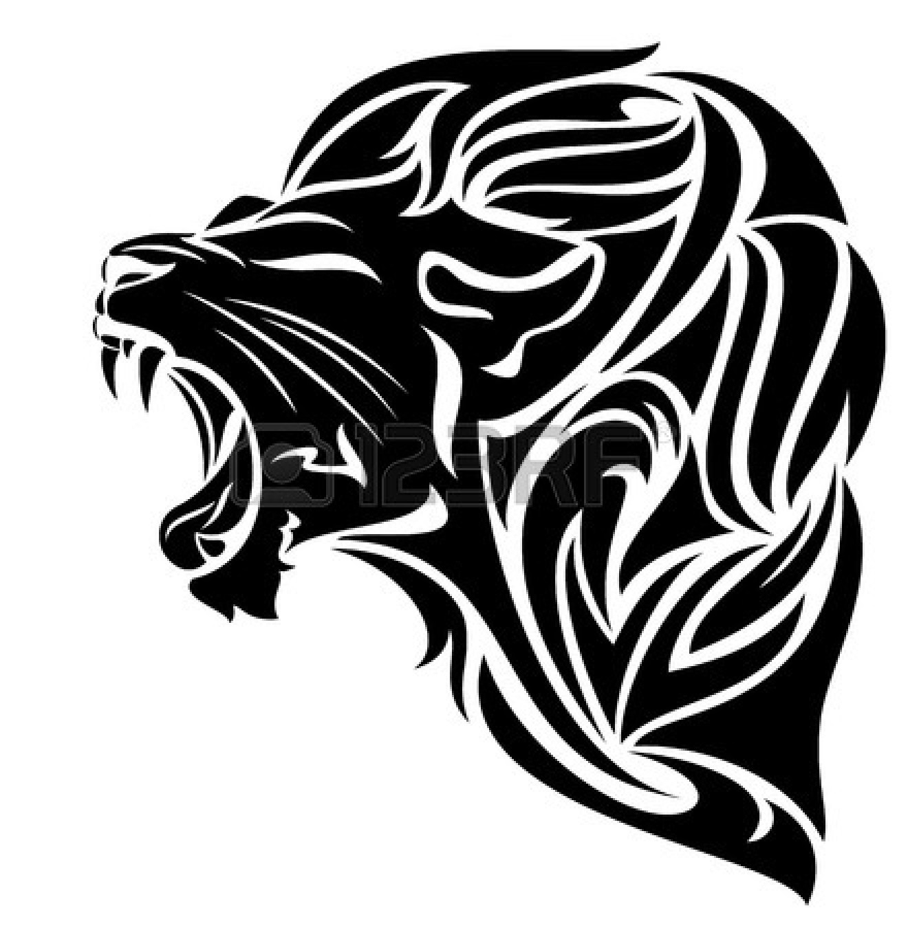 Lion black. Furious and white clipart