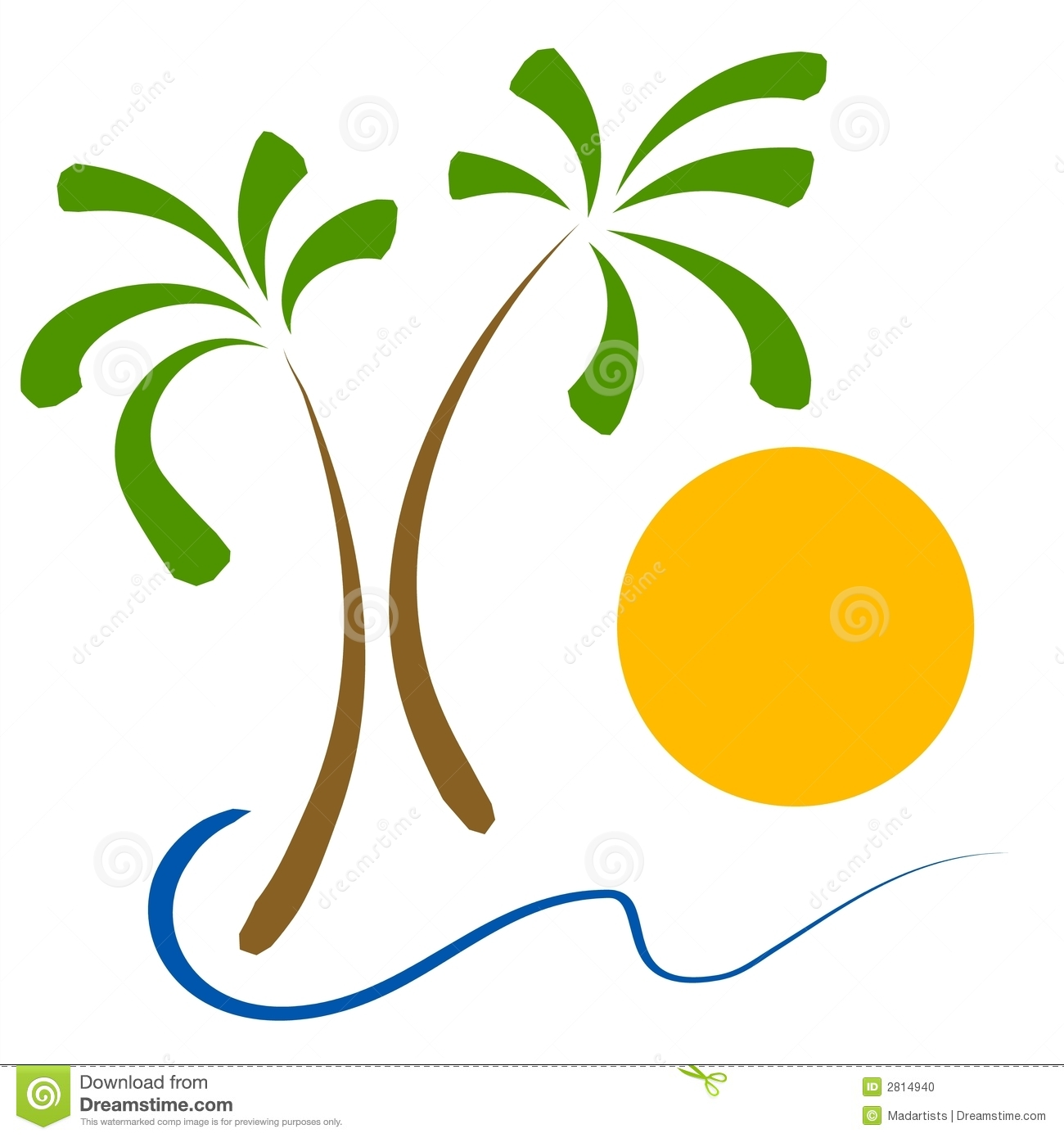 Palm Trees Beach Sun Clip Art