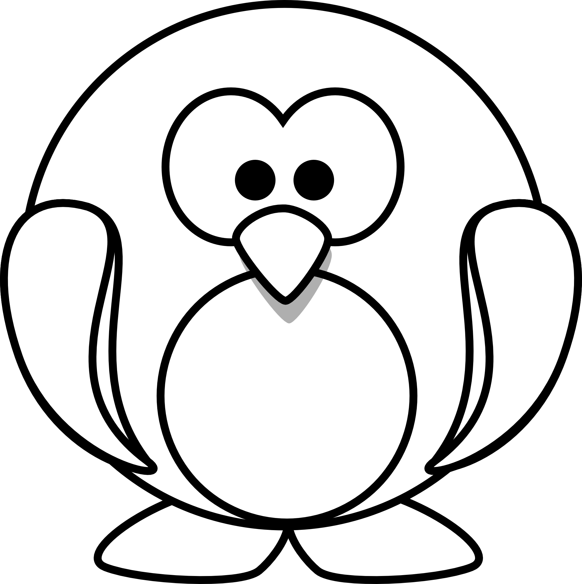 penguin 1 black white line clipart panda free clipart images