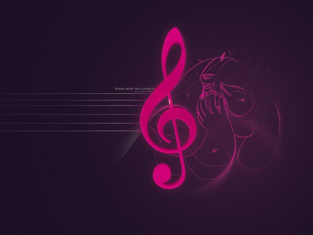 Pink Music Notes Wallpaper