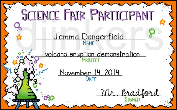 Science Fair Certificate Template Images Template Design Free Download