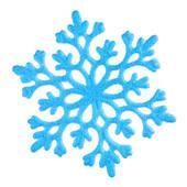 Single blue snowflake on white