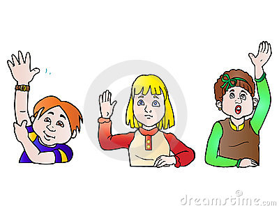 Three students raising hand