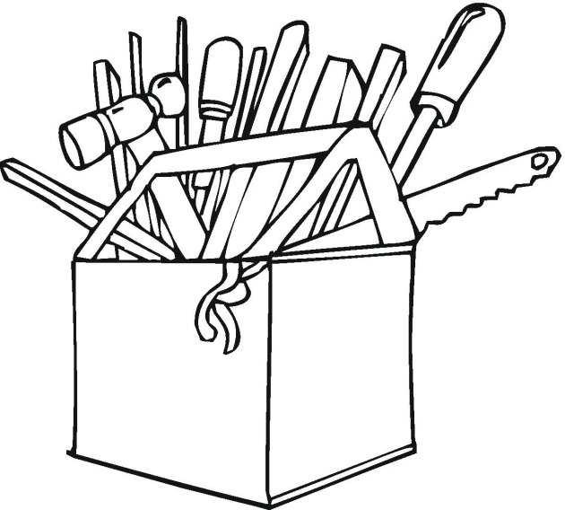 Coloring 12 construction tools | Easy coloring pages and drawing ... | 568x630