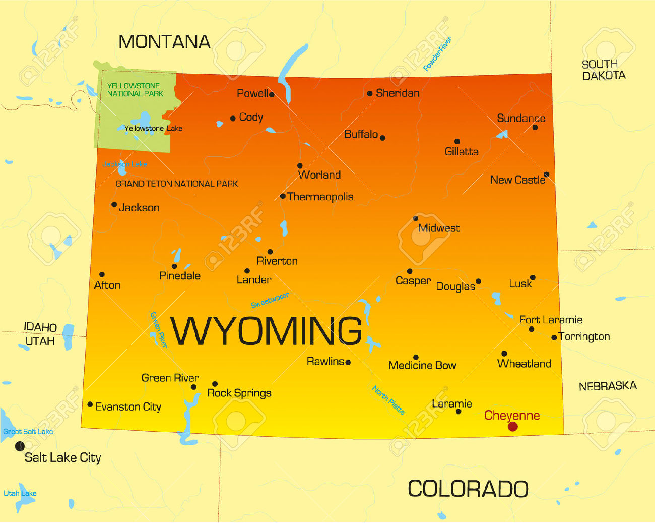 wyoming: Vector color map of | Clipart Panda - Free Clipart Images